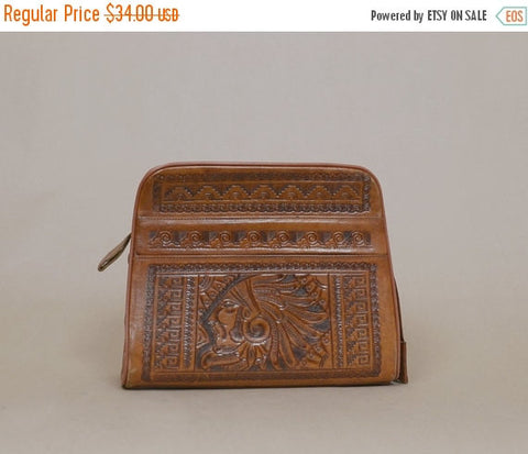50% OFF SALE Leather Tooled Purse 70s Mexican Aztec GODHEAD Mayan Calendar 1970s Hippie Boho Tan Hand Tooled