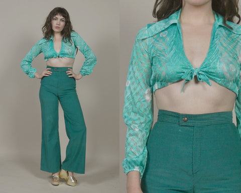 Tie Front Top Crop Mint Green Eyelet Peacock Feather Print 70s Pointed Collar Puff Sleeves 1970s Hippie Fredericks of Hollywood / Size Small