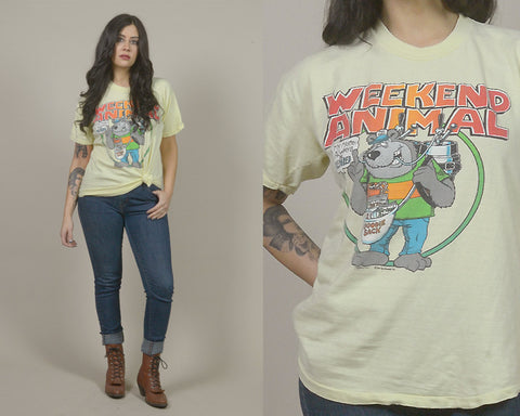 80s T Shirt Yellow WEEKEND ANIMAL Born To Party Tee NOVELTY Bear 1980s Gag Gift Funny Beer Shirt / Size L Large