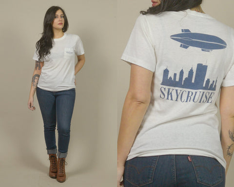 70s T Shirt Blimp SKYCRUISE 1970s Pocket Tee Airship Industries Zeppelin Vintage Soft Thin White Shirt Unisex / Size S Small
