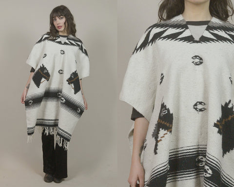 70s Poncho HORSES Southwestern Woven Serape Striped Cream Horseshoes 1970s Hippie Boho Ethnic Blanket Cape Fringe / OS One Size Fits Most