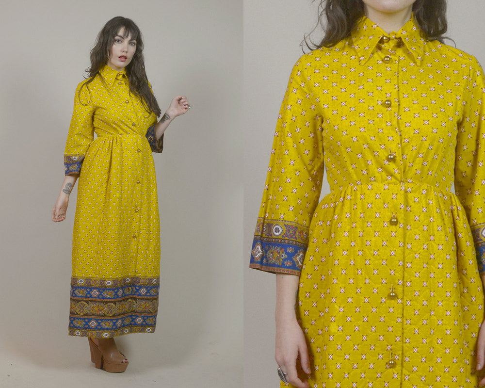 Maxi Shirt Dress 70s Mustard Yellow Quilted Ethnic Floral Print Mod 1970s Hippie Pointed Collar Mid Sleeve Pockets / Size M Medium