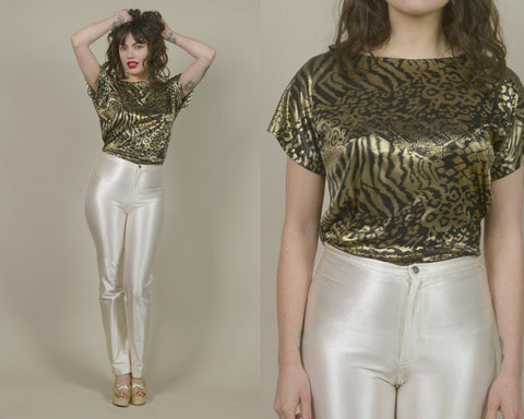 Leopard Print Top 80s Disco Blouse Gold Black Shiny Metallic Liquid Metal Shirt Foil Short Sleeve Party Top Draped / Size S M Small Medium
