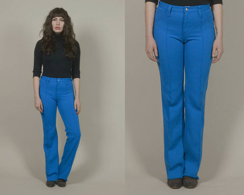 70s High Waisted Pants Royal Blue Hip Huggers Polyester Creased Bell Bottoms 1970s Hippie Trousers Patch Pocket Flares / Size M Medium