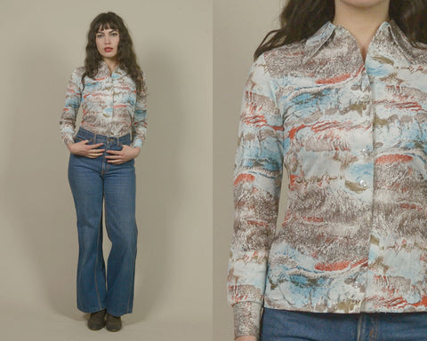 70s Collar Shirt Blue Orange Marble Print Top 1970s Hippie Button Up Long Sleeve Pyschedelic Pointed Collar / Size S Small