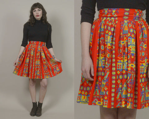 70s Folk Skirt Bright Colored Red Orange High Waisted People Print BIRDS Mini Folk Art Ethnic 1970s Boho Hippie / Size S Small