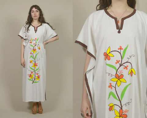 70s Caftan Floral White Cotton Angel Sleeve Maxi Dress Boho 1970s Hippie Embroidered Flowers Drawstring Ethnic Tunic Kaftan / OS One Size