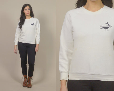 Whale Sweatshirt 80s Pullover Animal Rights 1980s Politcal Sweater Whale Adoption Project White Slouchy Raglan Unisex / Size M Medium
