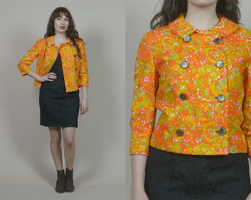 60s Jacket Orange Floral Double Breasted Crop Jacket