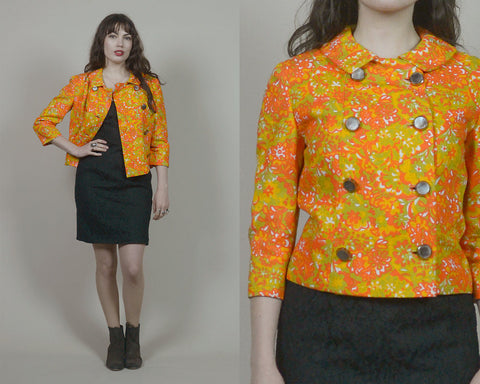 60s Jacket Orange Floral Double Breasted Crop Jacket 1960s Mod Jackie O Peter Pan Collar Mid Sleeve Psychedelic / Size M Medium