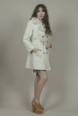 Fur Collar Coat 70s Raincoat Cream Faux Fur London Fog Belted