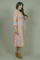 Maxi Dress 70s Peach Floral Smocked Bust Puff Sleeves Boho