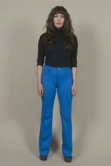70s High Waisted Pants Royal Blue Hip Huggers Polyester Creased