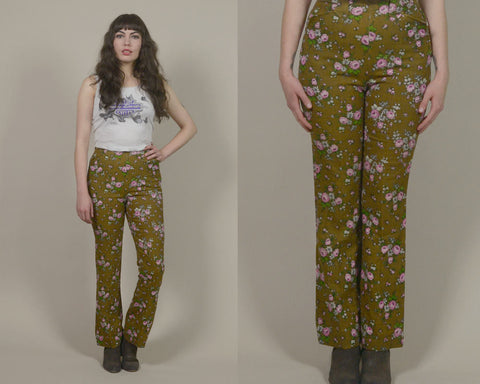 70s Floral Pants H Bar C High Waisted Brown Pink Bell Bottoms 1970s Hippie Trousers Western Country Hip Huggers Creased / Size S Small