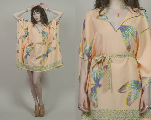 80s Caftan Peach DRAGONFLY Angel Sleeve Mini Dress Boho 1980s Dashiki Hippie Graphic Print Tunic Kaftan Belted / OS One Size
