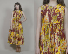 70s Maxi Dress Psychedelic Absract Print Burgundy Yellow Asian