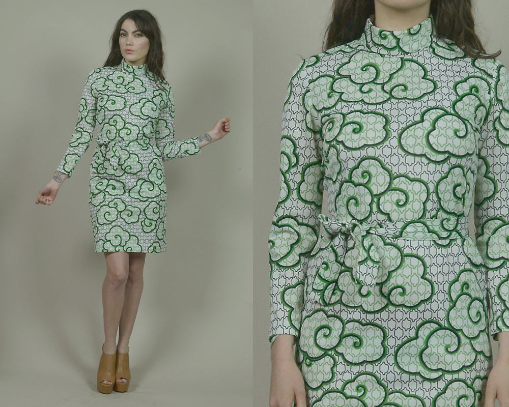 70s Shirt Dress Pyschedelic Green Abstract Geometric Midi Dress