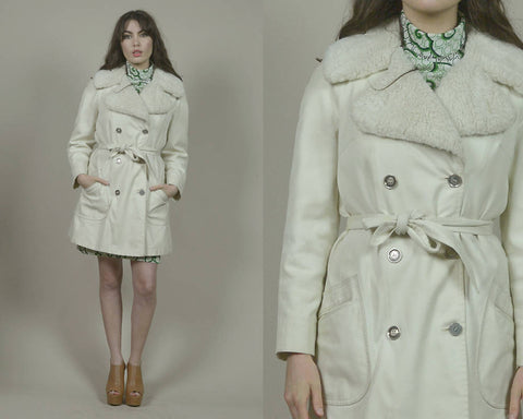 Fur Collar Coat 70s Raincoat Cream Faux Fur London Fog Belted 1970s Hippie Outerwear Trench Coat Spy Jacket / Size M Medium