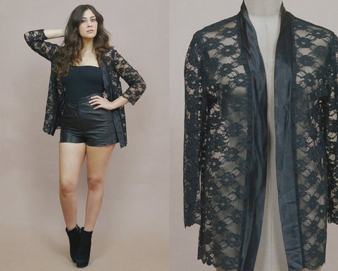 Black Lace Jacket Kimono 70s Bedjacket Sheer Layering Boho Light Weight Festival Long Sleeve Flapper Jacket / Size S M Small Medium