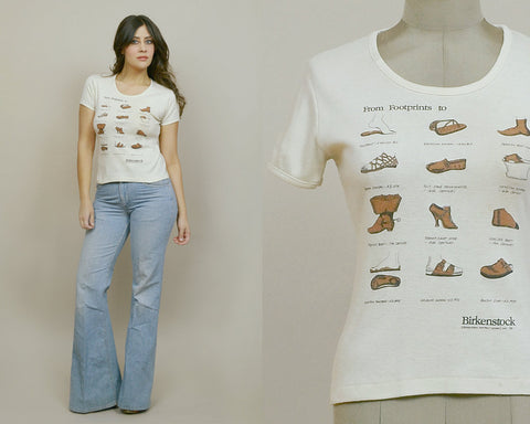 80s Babydoll Tee BIRKENSTOCK Sandals Fun Tees Footprints Novelty Tshirt Women's 1980s Hippie Shirt Scoop Neck / Size M Medium