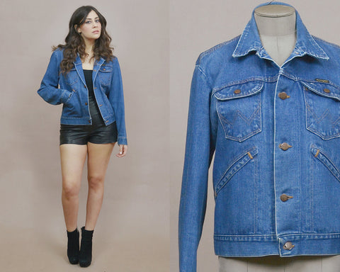 70s Denim Jacket Wrangler Blue Jean Jacket Pointed Collar 1970s Hippie Western Topstitching Classic Unisex / Size L Large