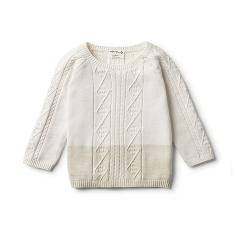 WILSON & FRENCHY | ECRU DIPPED CABLE KNIT JUMPER
