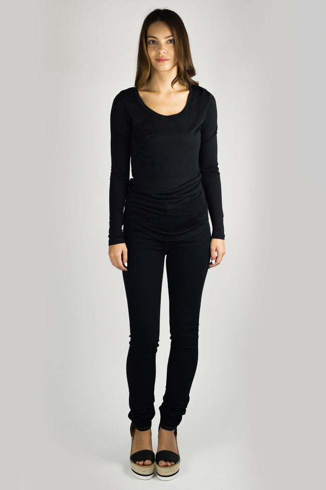 REBECCA Long Sleeve Luxury T in Black