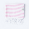 The Boca Grande Pink Striped organic Turkish Towel - folded