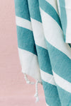 Teal Blue Turkish Towel Fringe