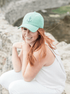 Mint Green Anchor Hat Modeled