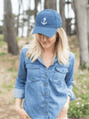 Navy Blue Anchor Hat - Modeled - Woman