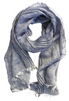 Striped blue linen scarf