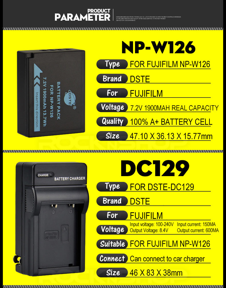 Dste Np W126 1900mah Battery And Charger For Fujifilm X Pro1 Xm1 Baterai Fuji A3 E1 Pro 1 T2 T20 With Packing Input 5v 1a Output 84v 500 Ma Compatible Camera Camcorder Models Hs50 Hs35 Hs33 Hs30exr Xa1 Xe1 T10