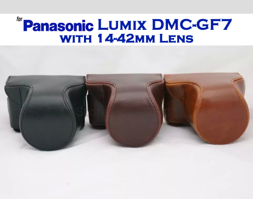 Leather Case Holster for Panasonic Lumix DMC-GF7 with 14-42mm Lens