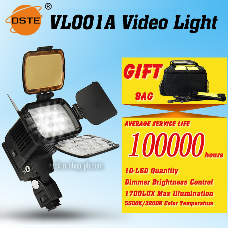 DSTE VL001A 10-LED Video Light for DSLR Camera Camcorder DV Dimmable LAMP 5500K/3200K