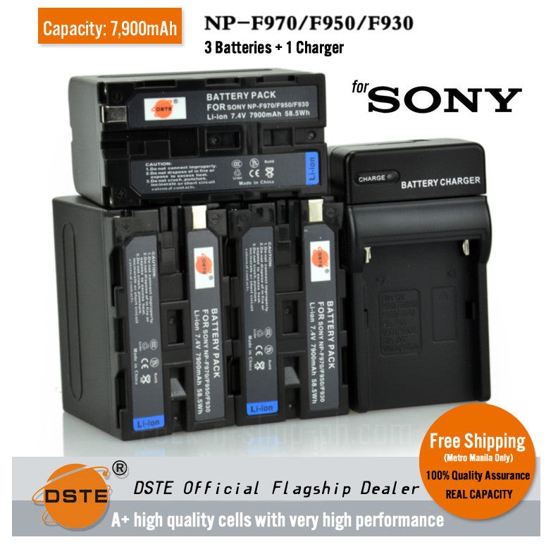 DSTE NP-F970 7900mAh Battery and Charger for Sony HVR-HD1000C Z1C 7C FDR-AX1E
