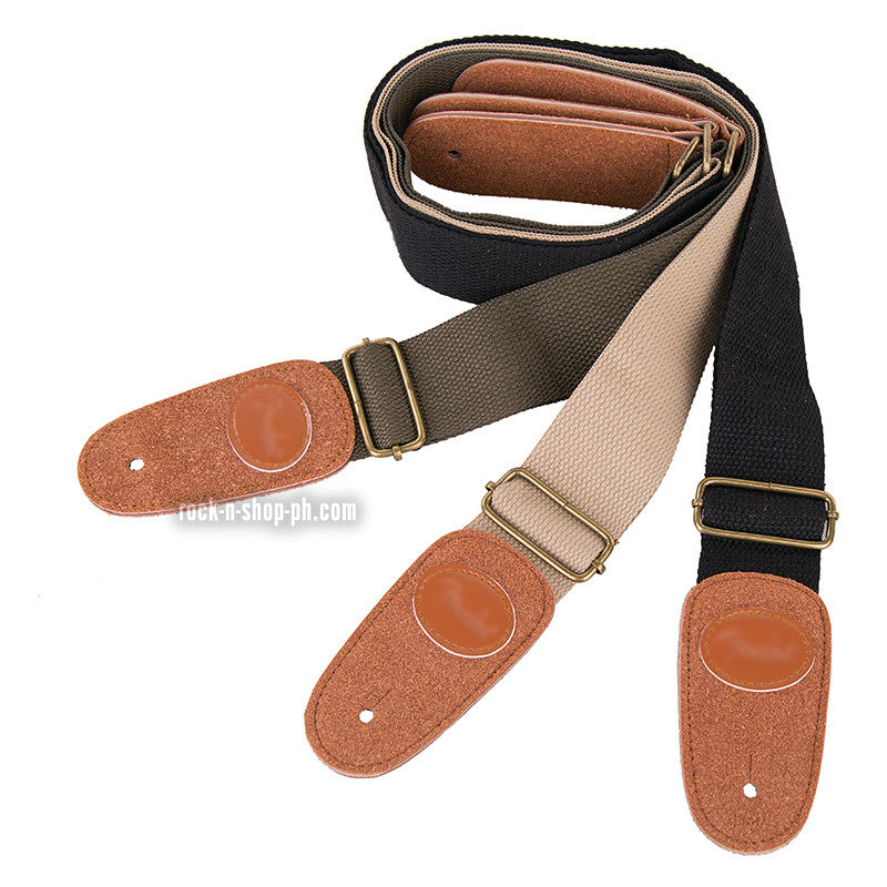 Guitar Strap 146cm Adjustable Guitar Bass Cotton Thick Strap Leather Ends
