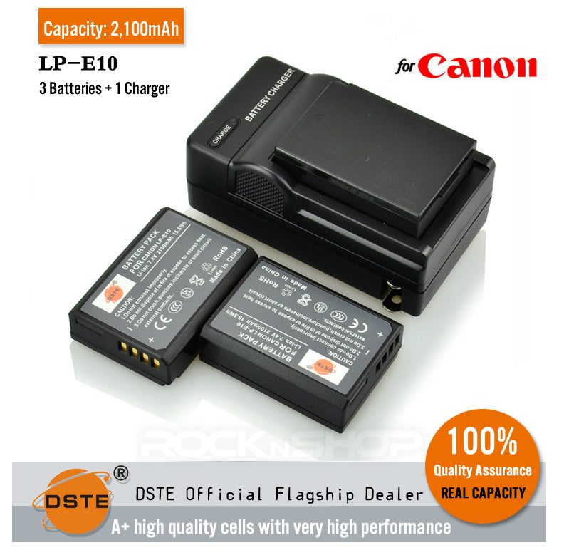 DSTE LP-E10 2,100mAh Battery and Charger for Canon 1100D KISS X50