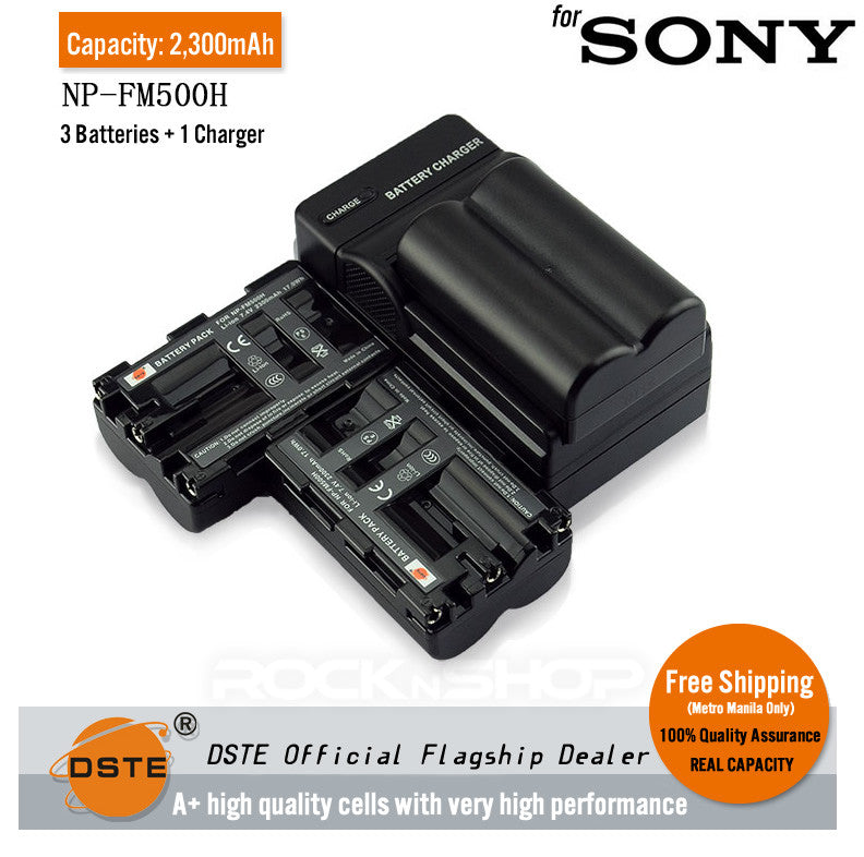DSTE NP-FM500H 2300mAh Battery and Charger for Sony A350 A300 A100 A900