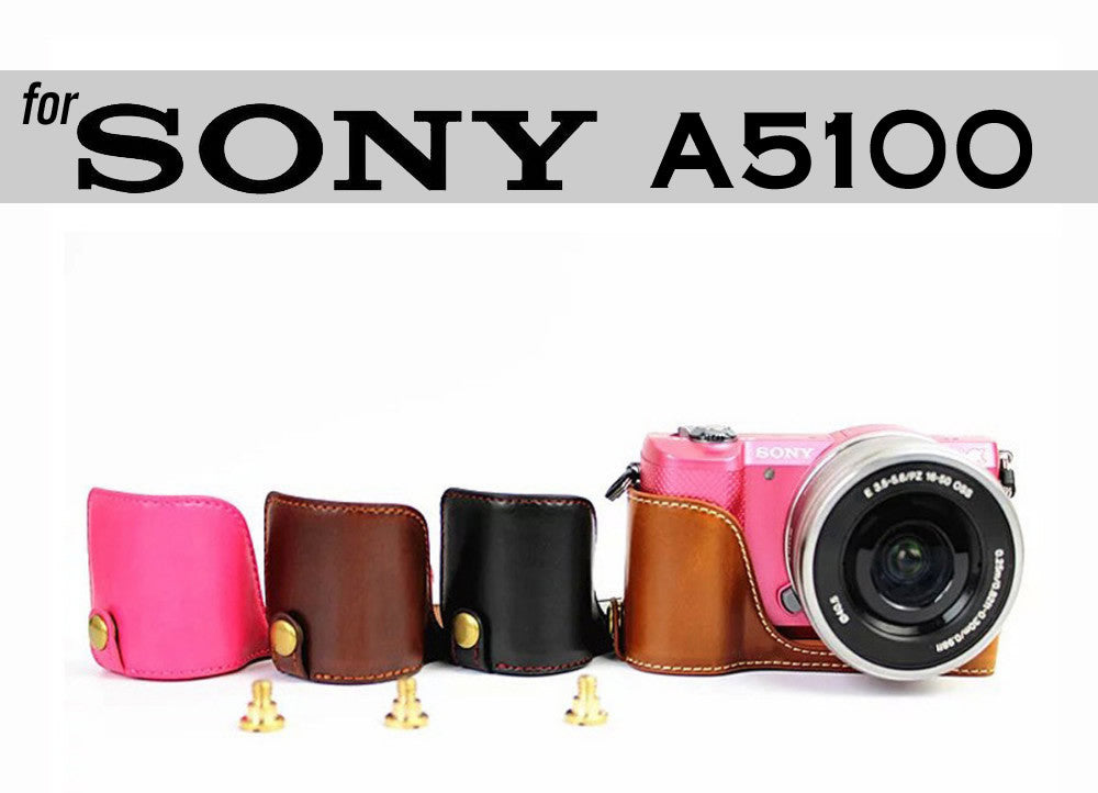 Leather Half Case for Sony A5100 A5000 (version 2)