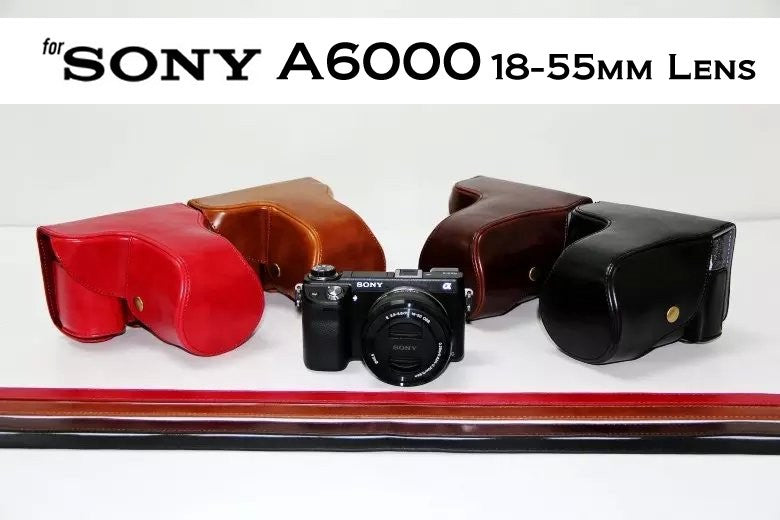 Leather Case Holster for Sony A6000 18-55MM Lens