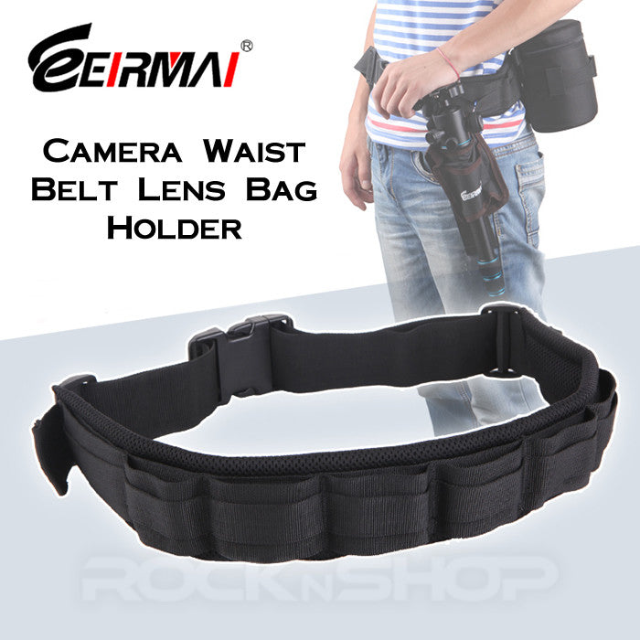 Eirmai Padded Camera Waist Belt Lens Bag Holder Case Pouch Holder Pack Strap Adjustable