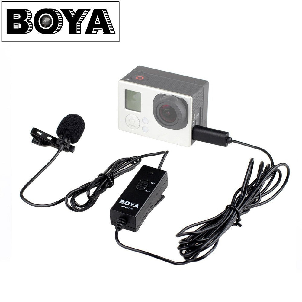 BOYA BY-GM10 Lavalier Clip-on Omnidirectional Condenser Microphone for GoPro Hero 3 3+ 4