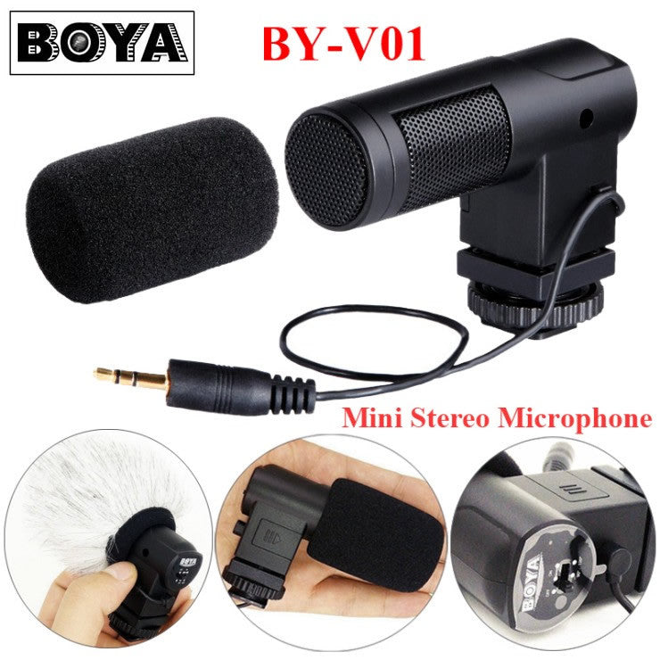 BOYA BY-V01 Stereo X/Y Mini Condenser Microphone / Mic for DSLR Camcorder