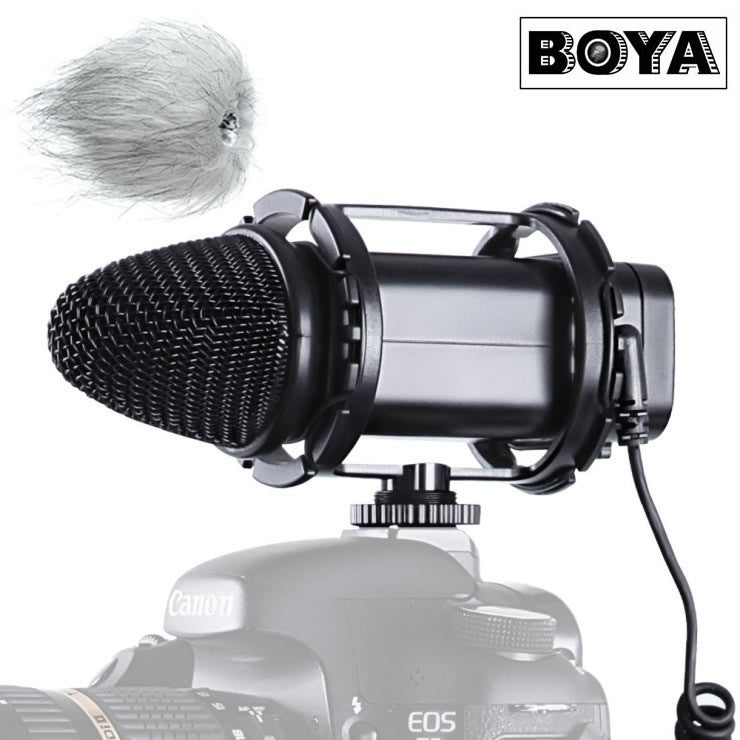BOYA BY-V02 Stereo Compact Condensor Microphone for DSLR Cameras, Camcorder Audio, recorders