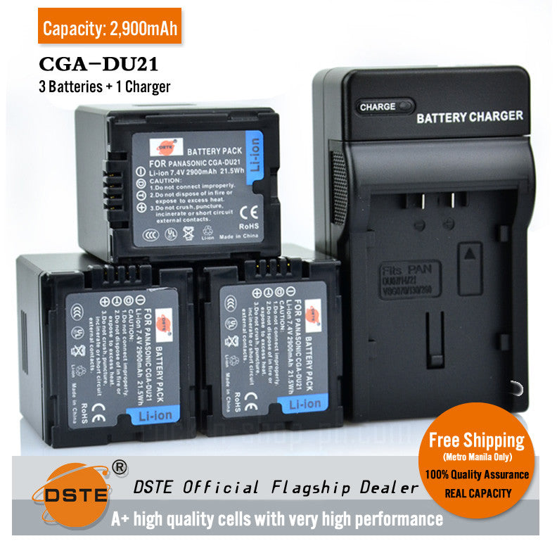 DSTE CGA-DU21 2,900mAh Battery and Charger for Panasonic VW-VBD210 GS500 GS27