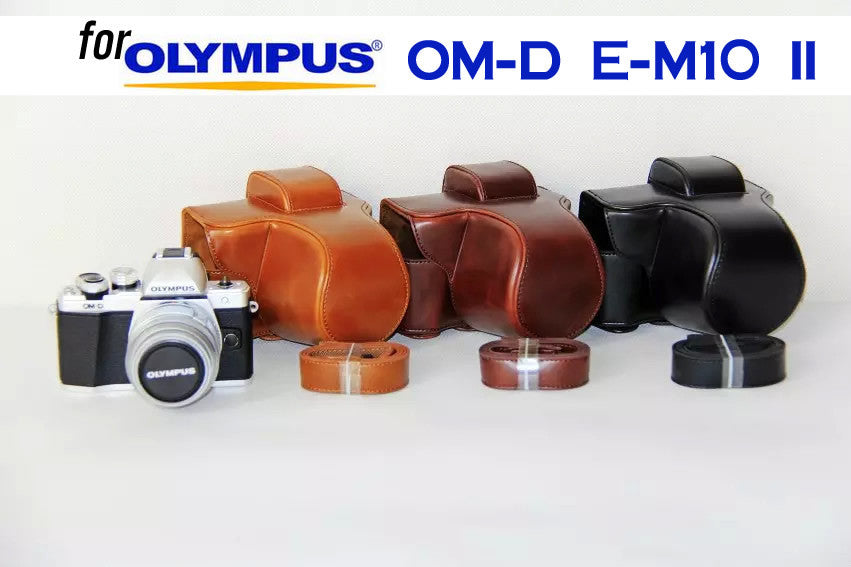 Leather Case Holster for Olympus OM-D E-M10 II with Long Lens