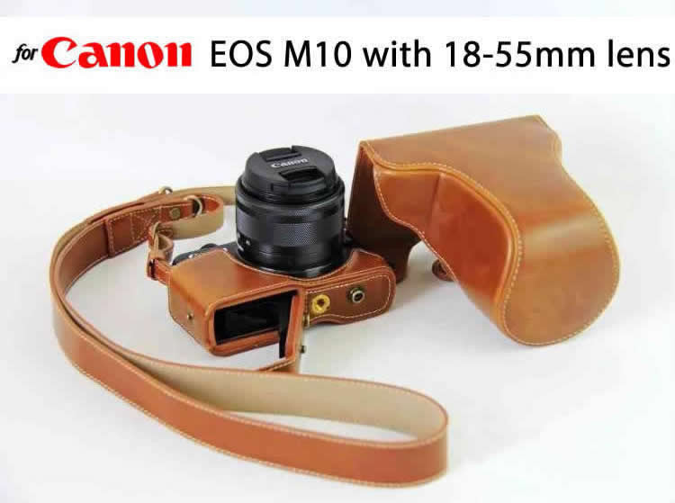Leather Case Holster for Canon EOS M2 / M10  / M100 with 18-55mm Lens (Hard Cover Version)