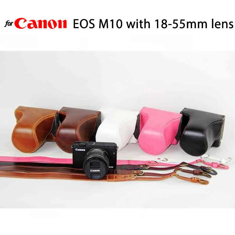Leather Case Holster for Canon EOS M2 / M10 / M100 with 18-55mm Lens