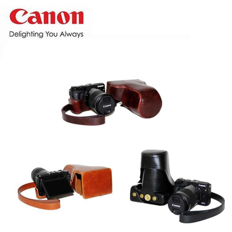 Leather Case Holster for Canon EOS M3 with 55-200mm Lens